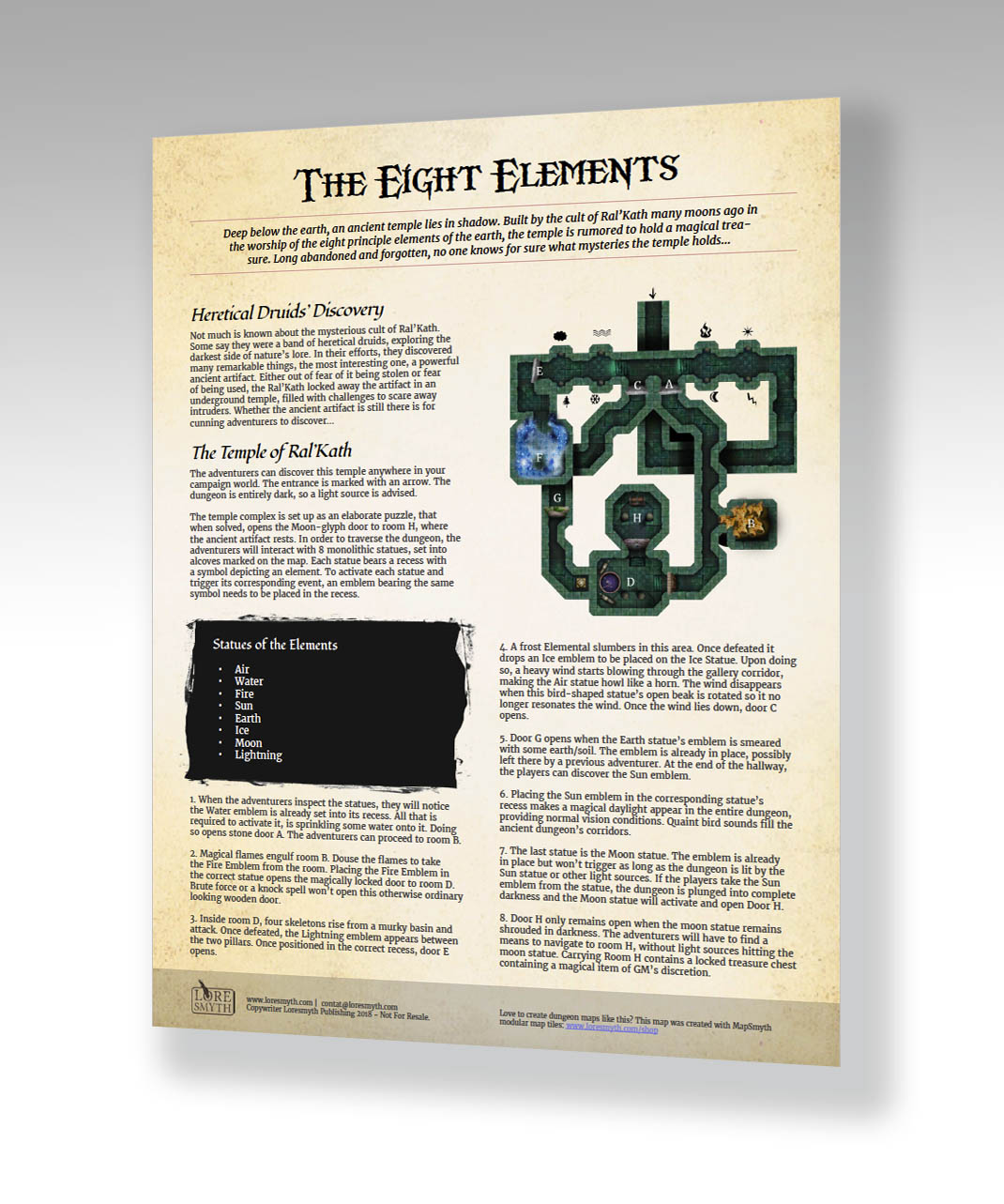 One Page Dungeon: 'The Eight Elements' – Free (PDF) Adventure – Print And Play/VTT