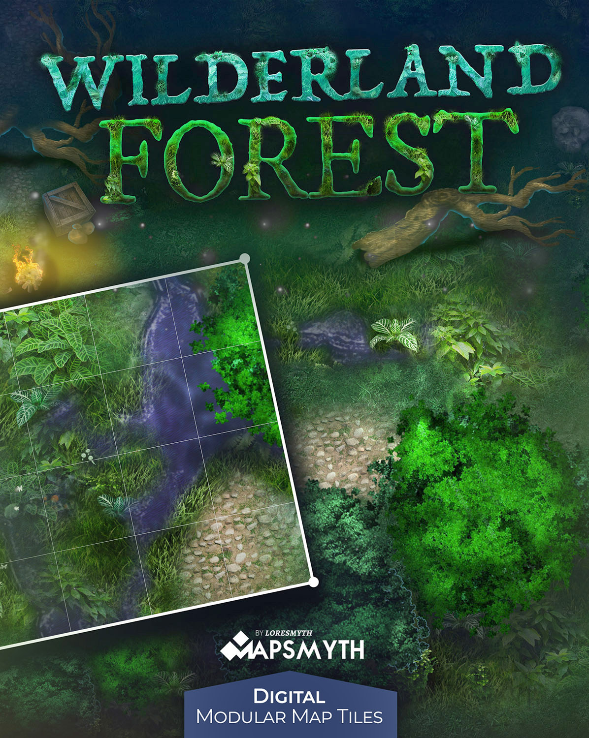 Wilderland Forest are HD detailed modular map tiles for use in VTT or image software. Create your own amazing terrain maps with ease!